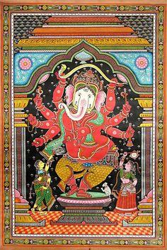 Dancing Ganesha (Orissa Paata Painting on Tussar Silk ))