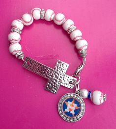 Houston Astros Cross Bracelet by sassygirlsx3 on Etsy, $10.95