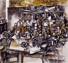 Renato Guttuso Still Life in the Studio, 1962 Ink and watercolour on paper