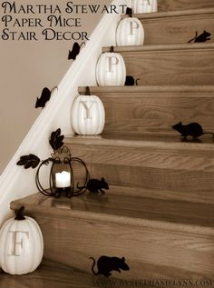 I love this cute fall idea. She found this last year on Martha Stewart's website. The mice are cut out on her silhouette but I think you can use the template and cut them out by hand as well.