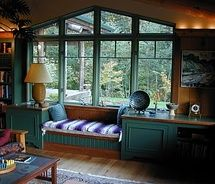 Library area with window seat | Home - Sweet Home | Pinterest | Window