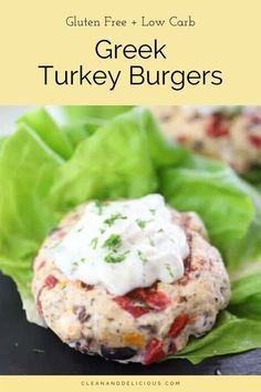 These Greek Turkey Burgers are a favorite recipe in our house - they're easy, healthy, and super delicious! Just make the patties, cook them up quickly in a pan, put a dollop of tzatziki sauce, and wrap in lettuce. So simple and so good! (Gluten Free   Low Carb) Vegetarian Barbecue, Barbecue Recipes, Vegetarian Cooking, Vegetarian Recipes, Cooking Recipes, Cooking Tips, Greek Turkey Burgers, Beef Burgers, Veggie Burgers