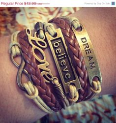 ON SALE NEW Light Tan and Brown Believe by ForTheWristAndSoul, $11.69