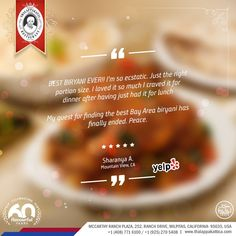 🖋 Guest has rated that Thalappakatti's is the Best Biriyani in Bay Area. We are overwhelmed with such good reviews from our Dear Guests.   #Review #YelpReview #Yelp   📍Location: McCarthy Ranch Plaza, 252, Ranch Drive, Milpitas, California- 95035, USA  #DindigulThalappakatti #Thalappakatti #ThalappakattiRestaurant #Biryani #Foodism  #PartyBucket #PartyBiriyani ##BestBiriyani #OrderPartybiriyanionline #California #USA #Lunch #Dinner