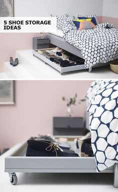 So many shoes, so little space! Nix your shoe storage woes with these 5 IKEA shoe storage solutions. So many shoes, so little space! Nix your shoe storage woes with these 5 IKEA shoe storage solutions. Ikea Shoe Storage, Shoe Storage Solutions, Kitchen Storage, Under Bed Shoe Storage, Underbed Storage Ideas, Lego Storage, Ikea Kitchen, Underbed Storage With Wheels, Diy Storage