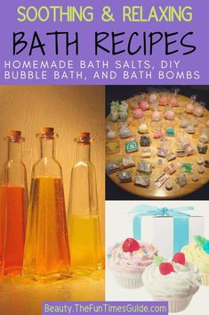 Simple DIY recipes to make your own homemade bath soaks - soothing bath salts, fizzy bath bombs, and relaxing bubble bath! Step-by-step tutorials and ingredients for making your own bath products.