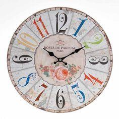 Αν ο χρόνος τρέχει, τουλάχιστον ας μας χαλαρώνει ένα όμορφο ρολόι τοίχου (MDF) με θέμα τα τριαντάφυλλα.
