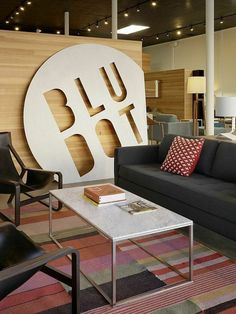 Fresh creative ideas for commercial office interior design and building signage. Includes company signs, exterior signage, reception signs, way-finding, and other interior graphics. Office Signage, Office Branding, Office Logo, Office Wall Decor, Office Walls, Office Wall Design, Commercial Design, Commercial Interiors, Company Signage