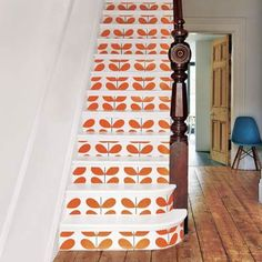 Add style to stairs: line the risers with a bold pattern.