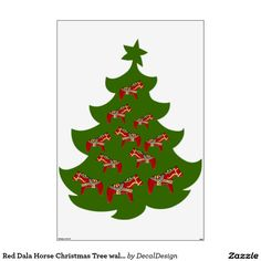 Red Dala Horse Christmas Tree wall decal