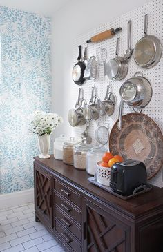 Vintage Kitchen Pegboard | photo Angus Fergusson | design Michael Penney | House & Home...with the buffet.    May need something like this in my next place...