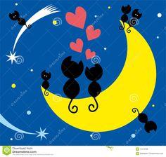 dos-gatos-en-la-luna-y-los-gatitos-17573799.jpg (1300×1236)