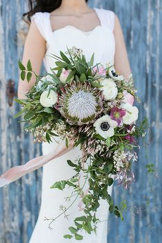 Protea, Anemone, and Jasmine Vine Bouquet   Charla Storey Photography and Grit + Gold