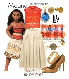 """""""Moana"""" by leslieakay ❤ liked on Polyvore featuring J.Crew, Bourbon and Boweties, Lord & Taylor, River Island, Dee Keller, Suzy Levian, disney, disneybound, disneycharacter and holidaystyle"""