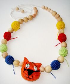 Nursing necklace Cat Teething necklace Baby toy Breastfeeding necklace Sling Accessory Babywearing necklace Colorful Christmas gift   Teething