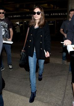 Keira Knightley Spotted at LAX Airport in sunglasses, and a peacoat