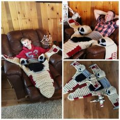 Snuggies are overrated! What you truly need in your life is one of these awesome X-Wing blankets by Off the Hook Designs, and you can make one of your own with the pattern located here. [X-Wing Blanket] Crochet Crafts, Crochet Projects, Free Crochet, Crochet Ideas, Yarn Crafts, Crochet Blogs, Knit Crochet, Learn Crochet, Crochet Fall