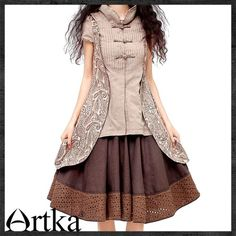 Artka*sleeved Jacqeard Patchwork manual button blouse $91.59