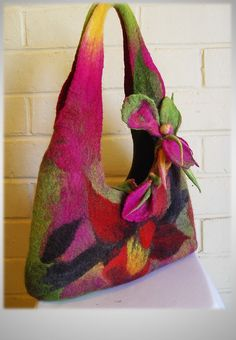 The 'Tropical Orchid hand felted Bag by InnovativeArtWear