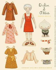 Free to download and print paper doll by Emily Winfield Martin (The Black Apple), Delia and Ollie paper dolls Oddfellow's Orphanage