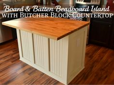 Cream painted island with a beadboard board and batten butcher block countertop. If you can't have white cupboards, might as well have black. Thinking the butcher block looks so great! Diy Kitchen Island, New Kitchen, Kitchen Decor, Kitchen Counters, Kitchen Ideas, Ikea Island, Kitchen Notes, Kitchen Grey, Basement Kitchen
