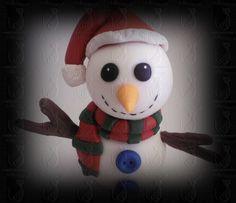 Boneco de neve modelado em porcelana fria por Nellebiscuit - orçamentos e encomendas por e-mail marinellep@gmail.com