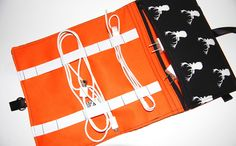 Cord Organizer, Cable Organizer, Charger Organizer, Cable Carrier, Cord Storage, Cord Travel Bag, Cable Bag, Cord Caddy, Cord Keeper, Orange by Sewmuchfunstuff on Etsy