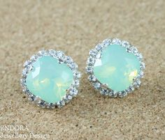 Crystal bridal earrings Mint Green earring Mint by EndoraJewellery