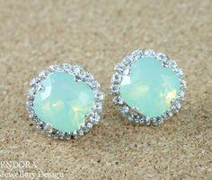 Crystal bridal earrings Mint Green earring Mint by EndoraJewellery