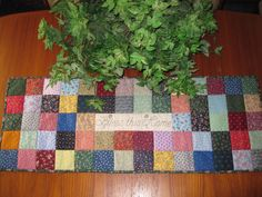 Bless This Home Scrappy Squares Patchwork Quilted Table Runner by…