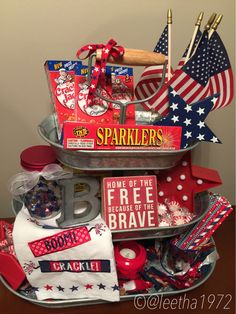 of July tier tray decor gift Fourth Of July Decor, 4th Of July Decorations, 4th Of July Party, July 4th, Patriotic Crafts, July Crafts, Galvanized Tiered Tray, Happy Birthday America, Tiered Stand