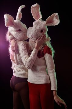 creepy knitted bunnies