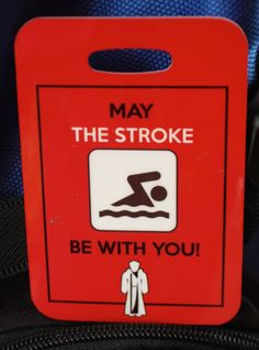 """Fun tag for the swimmer or triathlon enthusiast in your life. Makes a great Christmas gift or stocking stuffer for that hard to buy for teen. """"May the Stroke Be With You"""" These tags are made from rein"""