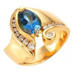 18k gold and marina blue aquamarine and diamond ring by Gordon Aatlo