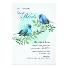 Shop Bluebirds on a Branch Invitation created by CottonLamb. Personalize it with photos & text or purchase as is! Couples Shower Invitations, Unique Wedding Invitations, Zazzle Invitations, Bridal Shower Gifts, Bridal Gifts, Couple Shower, Watercolor Invitations, Invitation Card Design, Wedding Website