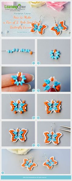 In this Pandahall tutorial, I'll show you how to make a pair of seed bead butterfly earrings. Hope you like the seed bead butterfly earrings. Beading Patterns Free, Seed Bead Patterns, Beaded Bracelet Patterns, Weaving Patterns, Beaded Bracelets, Beaded Necklace, Bead Earrings, Pendant Necklace, Diy Bracelet
