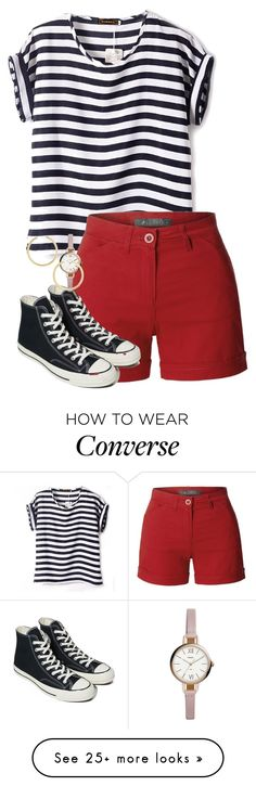 """""""Untitled #829"""" by audett99 on Polyvore featuring LE3NO, Converse, FOSSIL and BaubleBar"""