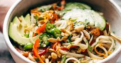 Spring Roll Bowls with basil, mint, rice noodles, fish sauce, brown sugar, lime juice, whatever other protein or veggies you have! Easily made meatless.