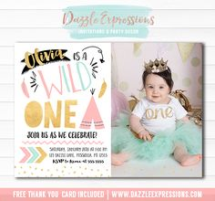 Printable Wild One Birthday Invitation | Pink, Gold and Mint Girls 1st Birthday | Tribal | Teepee | First Party Idea | FREE thank you card included | Cupcake Toppers | Favor Tag | Banner | Drink and Food Labels | Signs | Matching Party Package Decor Available!