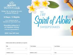 Enter the Marriott Vacation Club Spirit of Aloha Sweepstakes for a chance to win a 6-day/5-night trip for two to Hawaii!