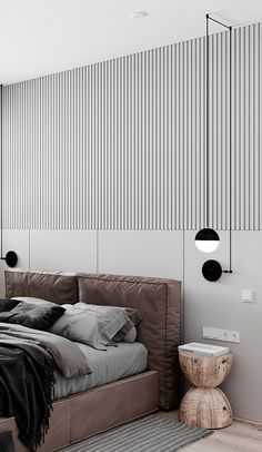 Bedroom Wall Designs, Bedroom Bed Design, Modern Bedroom Decor, Bedroom Styles, Interior Design Examples, Small Apartment Living, Stylish Home Decor, Apartment Interior, Beautiful Bedrooms