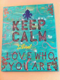 Keep calm quote hand painted large canvas $70