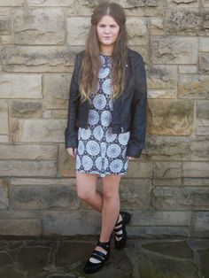Wearing Motel Rocks dress, French Connection leather jacket, Topshop shoes www.thatspeachy.com, style, fashion, fashion blogger, outfit, cut out shoes, ombre hair, long hair