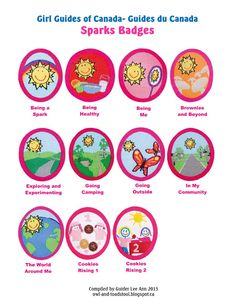 I've posted the GGC Guide badges and GGC Brownies badges . N ow here are the GGC Sparks badges . This is a good resourc. Brownies Girl Guides, Brownie Guides, Spark Program, Guide Badges, Brownie Badges, Girl Scout Patches, Camp Songs, World Thinking Day, Rainbow Crafts