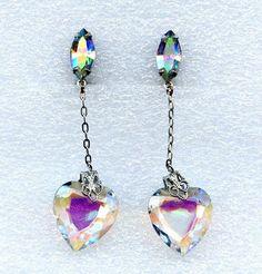 Vtg 1960s Lewis Segal California Dangle Heart AB Crystal Silvertn Clip Earrings