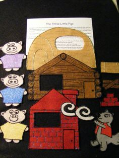 Felt Flannel Board Story The Three 3 Little Pigs Circle Preschool | eBay