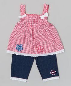 Look what I found on #zulily! Fuchsia Plaid Shirred Tank & Denim Pants - Infant & Toddler by Coney Island Kids #zulilyfinds