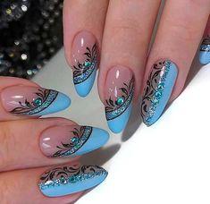 Line Nail Designs, Manicure Nail Designs, Black Nail Designs, Simple Nail Designs, Stylish Nails, Trendy Nails, Baby Nail Art, Line Nail Art, Lines On Nails