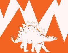 Dinosaur  Orange Stegosaurus CONTEMPORARY ART PRINT -. $15.00, via Etsy.