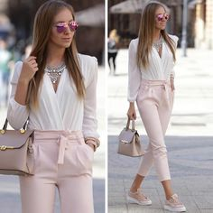 bow pants-dressy pants-tie pants-Neutral and classy outfits for women – Just Trendy Girls Classy Outfits For Women, Casual Outfits, Clothes For Women, Casual Wear, Formal Outfits, Vest Outfits, Casual Skirts, Classy Women, Mode Outfits